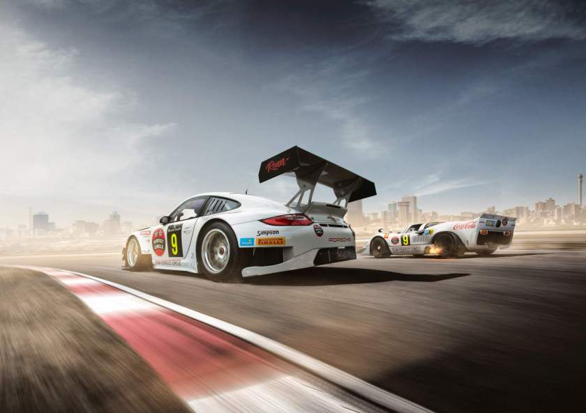 Team Perfect Circle Porsche 911 GT3 R and 917 rear